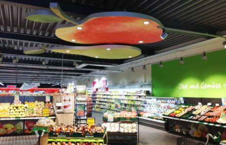 Interieurelement voor in supermarkt door Pillen Checkouts
