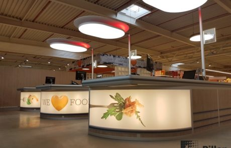 Checkouts met plafondelement