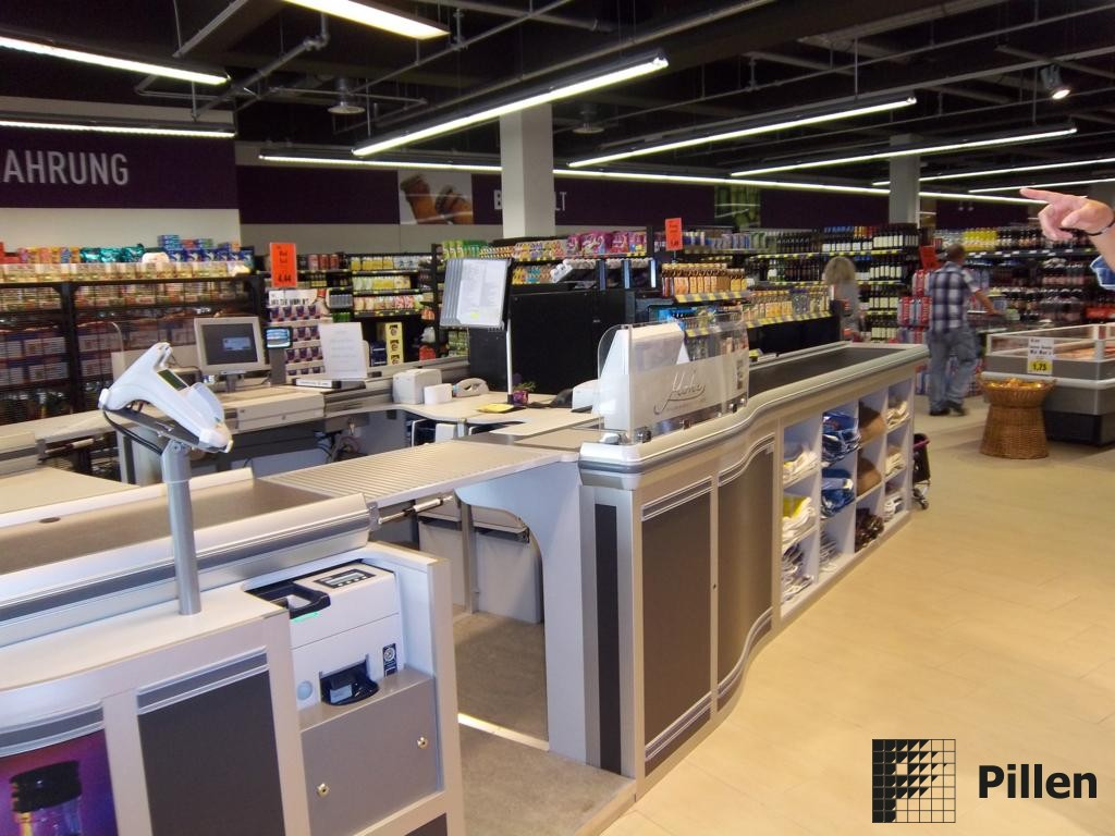 Dubbele checkout in supermarkt omgeving